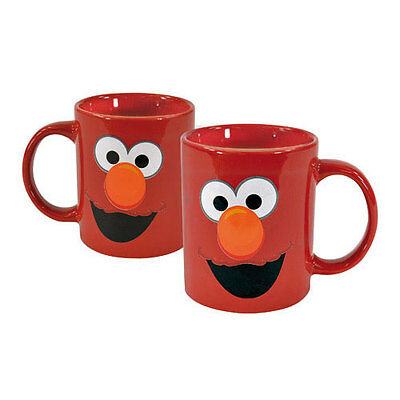 """Set of TWO(2) Porcelain SESAME STREET MUGS / CUPS ELMO by """"United Labels"""""""