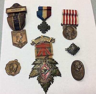 Vintage Antique Lot Of Wwi And Later Medals W/ Ribbons & No Ribbons