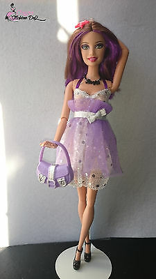 Outfit lilac and silver dress and bag for OOAK Barbie ,Fashion Royalty or doll