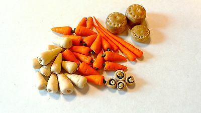 6 Dolls house miniature food selection, 1/12th scale.