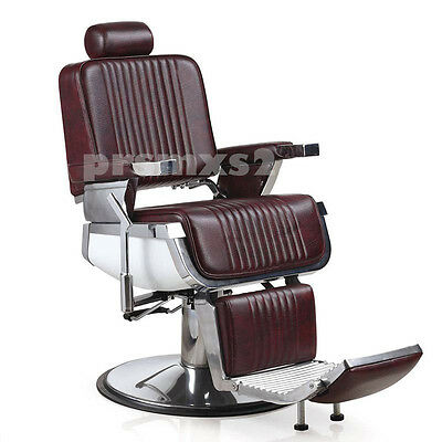 2 x Brand New Vintage Style Burgundy Barber Chairs Chair** CUSTOM MADE **