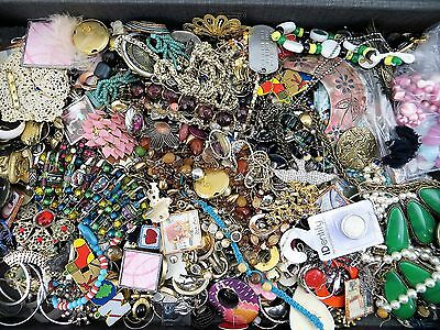 Huge Assortment of Junk Jewelry Loose Beads Parts Single Earrings 6+ Lbs