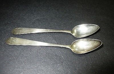 """Antique Pair COIN Silver Spoons Signed Shoemaker Eagle 5.5"""" Monogram RB"""