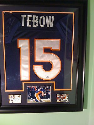 Tim Tebow Framed Jersey With Auto Florida Gators Denver Broncos Game Used Patch