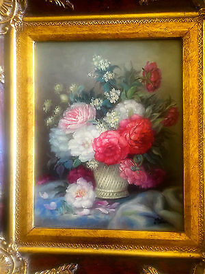 Old Original oil painting on wood Flowers sumptuous golden frame