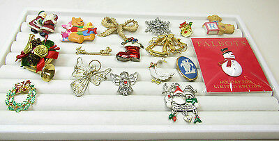 Costume Jewelry Pin Brooch Lot Holiday Christmas Angels Snowman Winter AS IS