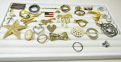 Costume Jewelry Pin Brooch Lot Flag Starfish Art Deco Faux Pearls AS IS