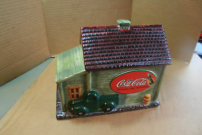 "Coca-Cola Cookie Canister, ""old General Store"" 2002 Ceramic, Nice Sealing  Top"