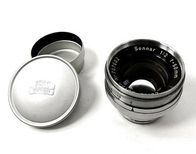 Zeiss-Opton 50mm Sonnar f2 T in Contax Rangefinder Mount with Caps