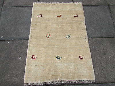 Old Traditional Hand Made Persian Oriental Gabbeh Rug Wool Cream 118x80cm