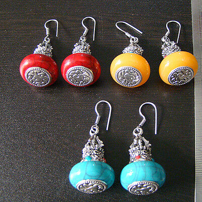 Best Quality Bollywood Style 3 Pc Silver Plated Wholesale Earring Lot   M1734