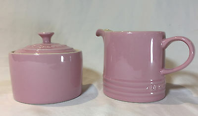 Le Creuset Cafe Collection Stoneware Cream and Sugar Set, PINK NEW