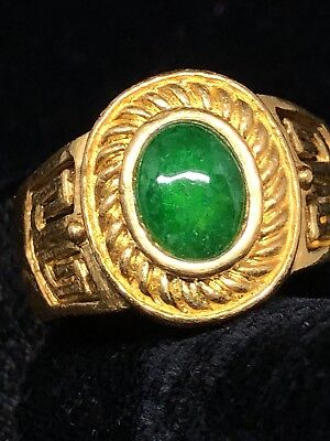 "Vintage 24K Gold & ""A"" Jade Ring"
