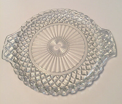 Anchor Hocking Waterford Waffle Clear Tab Handled Cake Plate Serving Platter