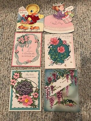 6 Vintage Greeting Cards- Forget-Me-Not/ And Other Mother's Day Cards!