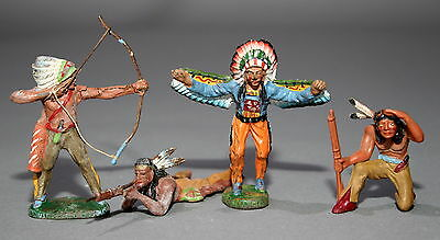4 alte Elastolin Massefiguren 7,5 cm Wildwest Indianer # 462