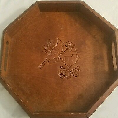 Vintage Octagon Wooden Serving  Tray (  Birds )