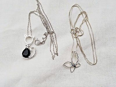 Lot of Vintage Sterling Silver Necklaces & Pendants, Cat & Butterfly, Jewelry