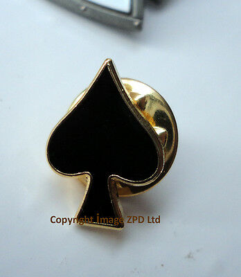 ZP382 Single Ace of Spades Biker Motorcycle Pin Badge German Gothic Spade Cards