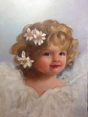 Barnes Oil Painting  Portrait Antique Vintage Style Shabby Cherub Angel Girl