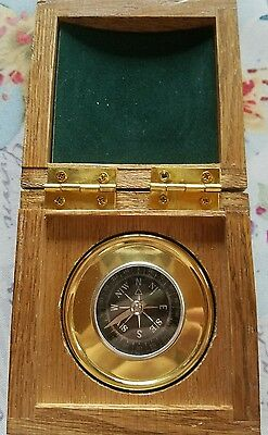 Vintage Brass Compass in Wooden Box