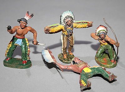 4 alte Elastolin Massefiguren 7,5 cm Wildwest Indianer # 464