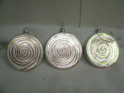 """Lot of 3 Christmas Swirl sugared Candy Glass Blown Ornament 3.5"""""""