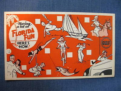 Having Fun In Florida Gulf Oil Postcard 1930