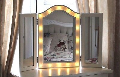 Wooden White LED Lights Hollywood Dressing Table Triple Folding Glass Mirror