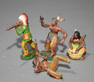 4 alte Elastolin Massefiguren 7,5 cm Wildwest Indianer # 466