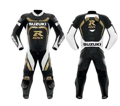 one piece Suzuki Gold   motorbike leather suit Motorcycle Clothing riding suits