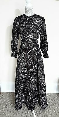 LADIES VINTAGE 60s FLORAL ART DECO MAXI DRESS SIZE 12-14