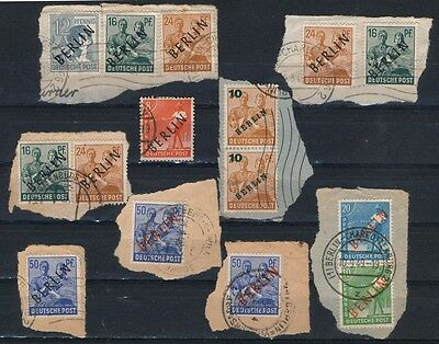 Berlin 1948 - 8 Stamps Overprinted In Black And Red Good Used On Paper