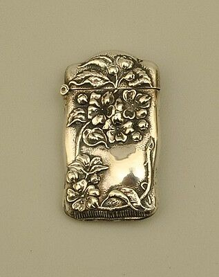 Sterling Silver Match Safe - Ornate Floral Design