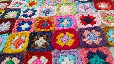 "50 Handmade Crochet Granny Squares 3"" Mixed Colours. Throw, Cushion Blanket"