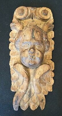 REAL Antique Baroque Art Corbel Wall Plaque Carved Wood Angel Cherub Putti