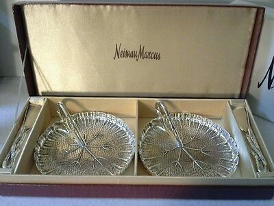 NEIMAN MARCUS Silverplated Leaf Tray W/Spreader Service For Two