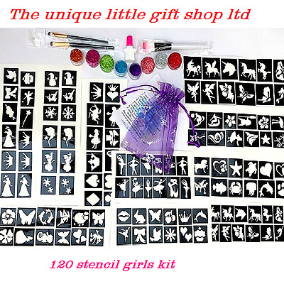 Girls GLITTER TATTOO KIT 120 stencil 8 glitter  glue brushes