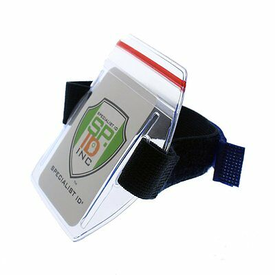 Heavy Duty Water Resistant Armband ID Badge Holders with Resealable Ziplock Top