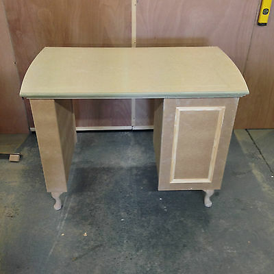 Manicure Desk / Nail Station - 3 drawer with glass top protector (unpainted)