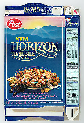 NEW! Post Horizon Trail Mix 10 oz. Cereal Box 1987 - Exciting Breakfast & Snack