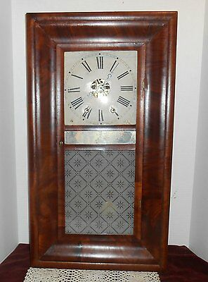 Antique Rare 8 Day Chauncy Jerome Over Size Ogee Clock Mantel Wood Dial Working