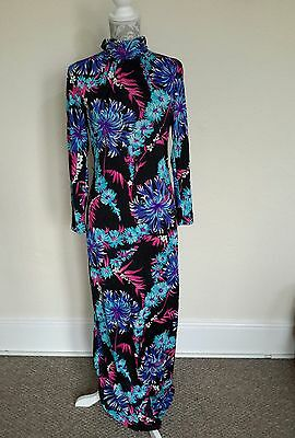 LADIES VINTAGE 70s FLORAL VIBRANT DISCO MAXI DRESS SIZE 12-14