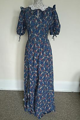 LADIES VINTAGE 70s DOES VICTORIAN STYLE LACE COLLAR DRESS SIZE 10-12