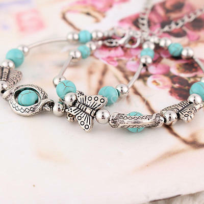 2 pcs Women Jewelry Gift Butterfly Turquoise Bead Bracelet Adjustable Bangle