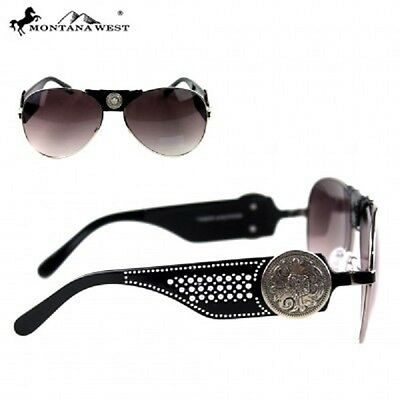 f372e0f3fe59 Montana West Sunglasses Western Southwestern Silver Floral Concho Aviator  Style