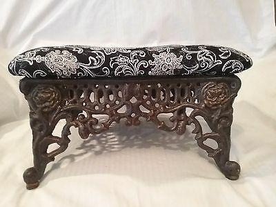 AWESOME Antique CAST Iron Small FOOT STOOL Reupholstered Shabby CHIC