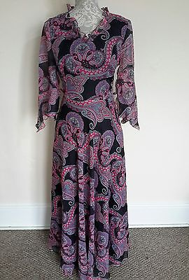 LADIES VINTAGE 70s PAISLEY PATTERN DRESS SIZE 14-16