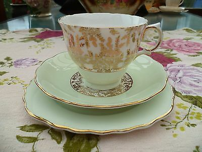 Vintage Royal Vale China Trio Tea Cup Saucer Pastel Green Gilded 7396