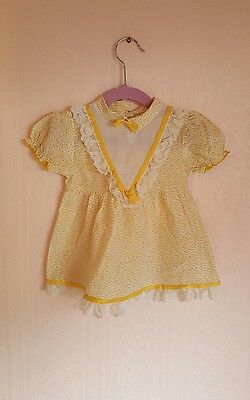 Vintage baby retro floral lace bow easter dress/top 12-18 months